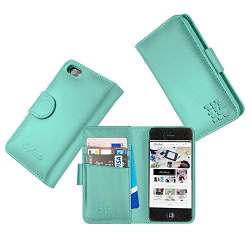 """Luxus Echtes Leder iPhone 6S iPhone 6 Ledertasche Kompakt Brieftasche Hülle mit """"Doppelt Schild"""" Schutz und Gegenüber Magnetverschluss um vermeiden Kreditkarte Korruption. Die Rila in Türkisblau"""
