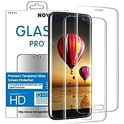 Novago Compatible avec Samsung Galaxy S6 Edge - 2 Films en Verre trempé incurvé (Arrondi sur Le Bord) Protège la Totalité de l'écran Version Ultra Fine 0.2 mm (Transparent)