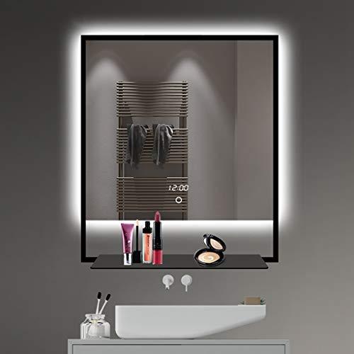 XH Spiegel LED Beleuchtet Badezimmerspiegel Mit Lichtern Und Elektronischer Uhr ExplosionsgeschüTzt Schimmelbeweis Metallregal Anti-Rost-BerüHrungssensorschalter Kontrollleuchten FüR Make-Up-Kosmetik