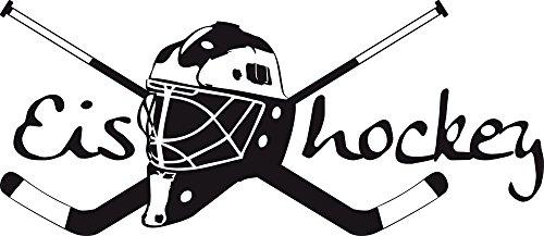 GRAZDesign Kinderzimmer Dekoration Deko Eishockey - Wandaufkleber Teenager Sportler Hockey Wappen - Wandtattoo Schläger mit Helm / 129x57cm / 660164_57_070