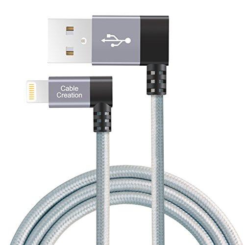 Lightning Kabel,CableCreation Daten-/Sync-/Ladekabel Lightning auf USB, Links abgewinkelt, iPhone 6S/6, iPhone 5/5S/5C, mit Metallstecker & Ummantelung aus Baumwolle, 1,2 m, Farbe Space Grau