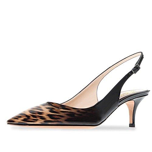 Lutalica Frauen Kitten Heel Spitze Patent Slingback Kleid Pumps Schuhe für Party Patent Schwarz-Leopard Größe 42 EU Leopard Patent High Heel