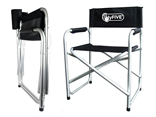Hyfive® Black Aluminium Directors Folding Chair With Arm Rest Camping Chair Fishing Chair Garden Chair