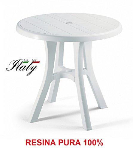 ALTIGASI Table Blanc pour Extérieur modèle Pol diamètre 80 cm en résine Mesure 80 x 80 cm – avec 4 Pieds réglables – Fabriqué en Italie