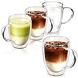 EZOWare Tazza en Vetro Doppia Parete, Bicchieri Termici Isolati di Vetro Borosilicato con Manici per Bevande Calde o Fredde, Caffè, Latte, Macchiato, Vino, Tè - Set da 4, 350ml