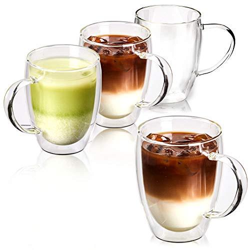 EZOWare Doppelwandige Glas Cappuccino Tassen Set, Isolierte Thermogläser aus Klarglas mit Griffen für Heiße oder Kalte Getränke, Kaffee, Latte, Mochiatto, Wein, Tee - 4er Set, 350 ml