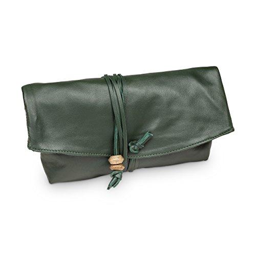 """Hinterland Styles Beauty und Drehertasche """"Lalibella"""" (grün) für den Sommer und handgearbeitet aus echtem Leder – Geeignet ..."""