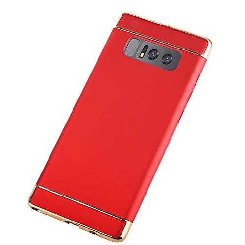 MBAPPE Schutzhülle für Samsung Galaxy Note 8, 3-in-1, ultradünn, beschichtet, stoßfest, Hartschale, Small, rot Bezel Frame Cover