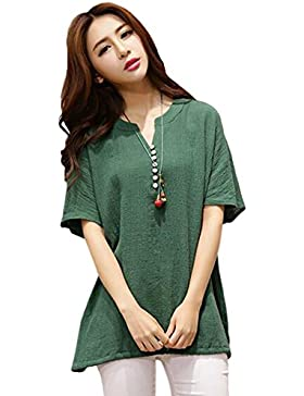 Hzjundasi Verano Mujer Cuello en V Suelto Algodón Lino Casual Blusas Manga corta Tops Camiseta de manga corta