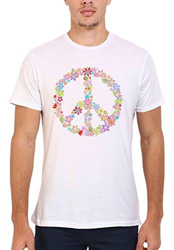 Peace Sign Flower Summer Cool Funny Men Women Damen Herren Unisex Top T Shirt .Weiß