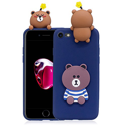 Coque iPhone 7 , Etui iPhone 8 , CaseLover 3D Etui Coque TPU Slim pour Apple iPhone 7 / Apple iPhone 8 (4.7 pouces) Mode Flexible Souple Soft Case Couverture Housse Protection Anti rayures Mince Trans Ours