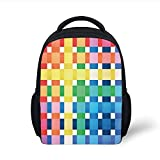 Kids School Backpack Checkered,Rainbow Colors Contiguous Big and Small Squares in Watercolor Style Geometrical,Multicolor Plain Bookbag Travel Daypack