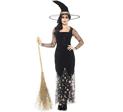 Smiffys Damen Deluxe Mond und Sterne Hexen Kostüm, Kleid und Hut, Größe: 36-38, 45110
