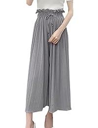Damen Hosen Fashion Plissee High Waist Hose mit Bandagen Trousers Freizeit Locker  Breites Bein Lange Pants e357e119c7