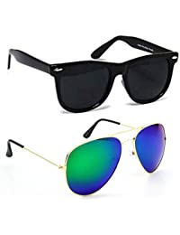 Elligator Unisex Combo Pack Of Mirrored Aviators Glasses & Black Wayfarer For Men And Women - Mirrored Sunglasses...