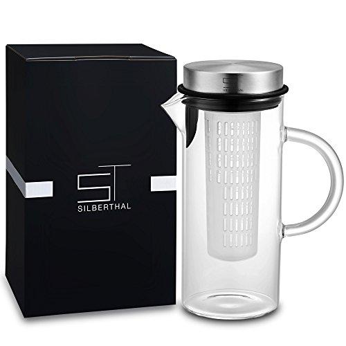 SILBERTHAL Glaskaraffe mit Deckel | 1l Karaffe aus Borosilitkatglas | Fruit Infuser inklusive Fruchteinsatz für Obst/Früchte und Tee | Spülmaschinenfest