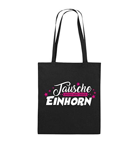Comedy Bags - Tausche dieses Shirt gegen Einhorn - Jutebeutel - lange Henkel - 38x42cm - Farbe: Schwarz / Weiss-Neongrün Schwarz / Weiss-Pink