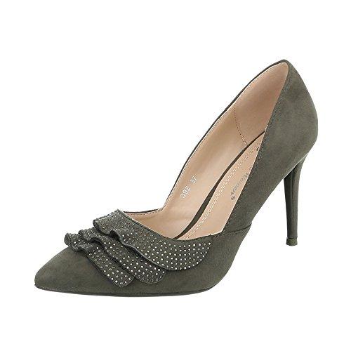 Ital-Design High Heel Pumps Damen-Schuhe High Heel Pumps Pfennig-/Stilettoabsatz High Heels Pumps Khaki, Gr 37, 392-