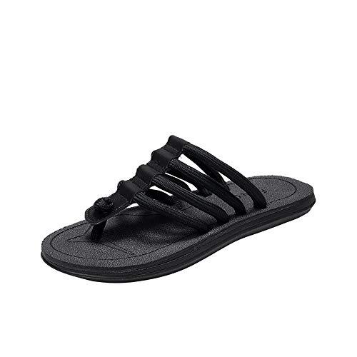 HILOTU Hot Summer Slippers Beach Für Männer Flip Flops Thong Flachstrickriemen Anti Slip Soft Komfortable Outdoor (Color : Schwarz, Größe : 45 EU) -