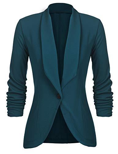 Unibelle Damen Blazer Cardigan Dünn 3/4 Längere Elegant Leicht Bolero Jacke Blazer Slim Fit Anzug Trenchcoat , Aa-dunkelgrün, 42(Herstellergröße:XL)
