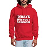 HUIYIYANG Tees Custom Hoodie Sweatshirt Long Sleeve for Women, Days Without Sarcasm. Simple Slogan - Classic & Comfortable Pullover Felpa con cappuccioXXL Red