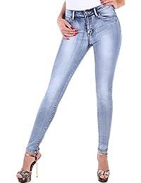 BD Damen Hight Waist Stretch Röhren-Jeans-Hose Hochschnitt in blau mit Waschung