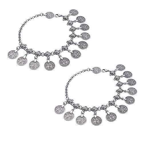 EQLEF® - 2 Pulseras tobilleras para mujer, diseño tribal, étnico, con monedas