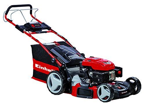 Einhell Benzin-Rasenmäher GE-PM 53 S HW-E Li (2,8 kW, 2850 U./Min., 53 cm Schnittbreite, E-Start Funktion, 6-stufige Schnitthöhenverstellung 25-70 mm, Mulchfunktion, inkl. 1,5 Ah Power X-Change-Akku)