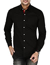 BASE 41 Men's Cotton Casual Full Sleeves Slim Fit Black Shirt