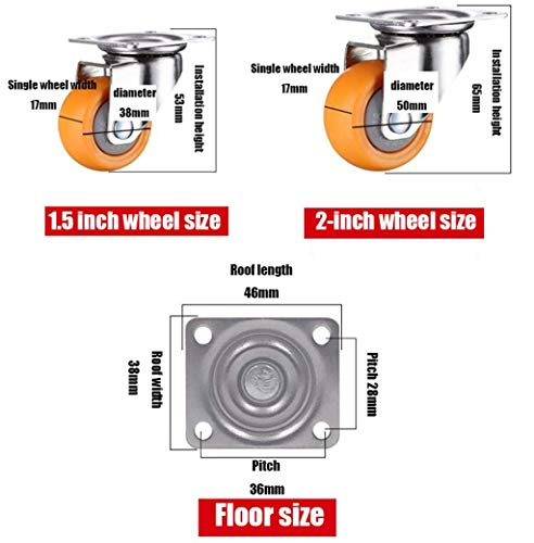 zdw Gongff 4er-Pack 1,5 '/ 2' Universalrollen für Roulette-Räder,4 Universal-Räder,2 Zoll