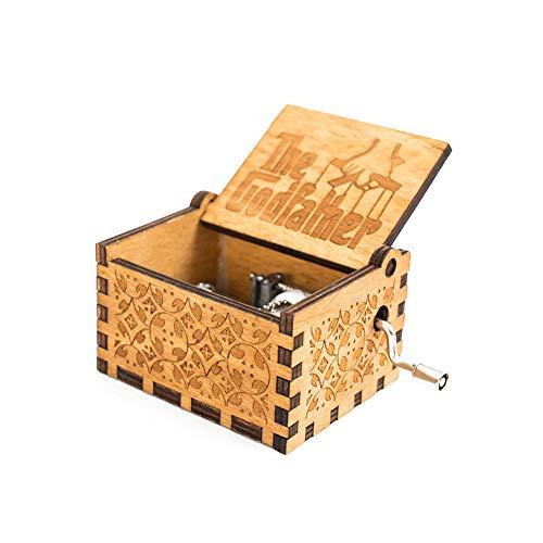 lujiaoshout Wooden Retro Music Box Carved Music Box Hand Cranked Godfather Music Box Mechanism Musical Box Gift -