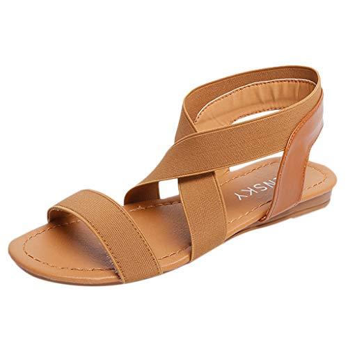 Dolce Vita-gladiator-sandalen (B-commerce Sommer Damen Retro Rom Sandalen Frauen Niedrige Ferse Anti Rutschfest Strand Kreuzgurt Peep-Toe Schuhe)