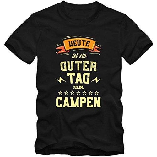 Heute ist ein guter Tag zum Campen Premium T-Shirt   HobbyShirt   Zelten   Natur   Herren   Shirt © Shirt Happenz Schwarz (Deep Black L190)