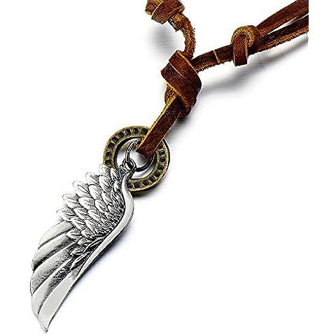 Alas de ángel estilo retro colgante para hombre Unisex para mujer con cordón de cuero ajustable