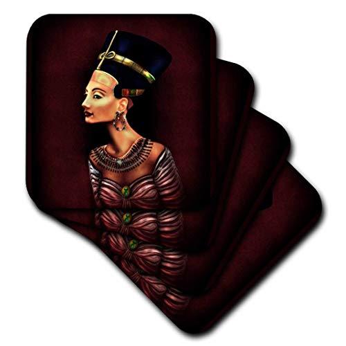 Dream Essence Designs Vertikal-Ein Porträt der Nofretete inspiriert von die alten ägyptischen Artefakt.-Untersetzer, Gummi, set-of-4-Soft -