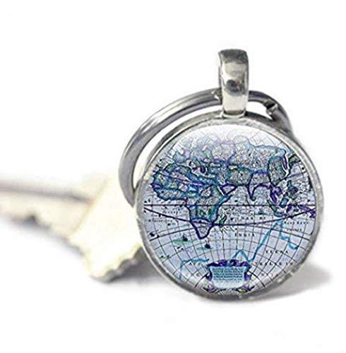 Leonid Meteor Dusche Karte Schlüsselanhänger, antik Karten, Globe Schlüsselanhänger blau Schlüsselanhänger, Reisen Geschenk,