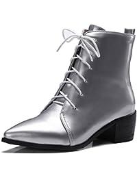 Smilice Damen Spitze Toe Stiefeletten mit Blockabsatz Reißverschluss Stiefel (Black, 47 EU)