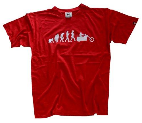 Shirtzshop Erwachsene T-Shirt Original Chopper Motorrad Evolution, Rot, XL, sshop-evochopp-t