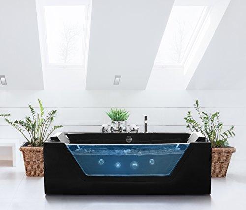 Whirlpool Badewanne Samurai SCHWARZ Mit 10 Massage Düsen + LED Unterwasser  Beleuchtung / Licht + Wasserfall Freistehende Wanne Mit Glas Hot Tub Spa  Indoor ...