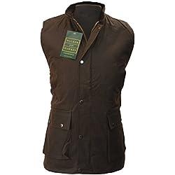 Para hombre chaleco de cera para hombre chaleco Countrywear chaleco marrón S-5X L, color marrón, tamaño L
