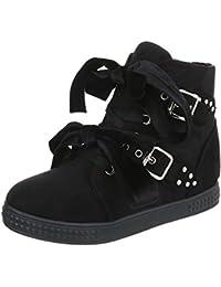 Ital-Design Sneakers High Damenschuhe High-Top Keilabsatz Wedge Keilabsatz  Reißverschluss Freizeitschuhe 4fe58d41db
