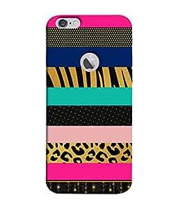 Fuson Designer Back Case Cover for Apple iPhone 6S (Logo View Window Case) (Zebra Stripes Bars Blocks Polka Dots )