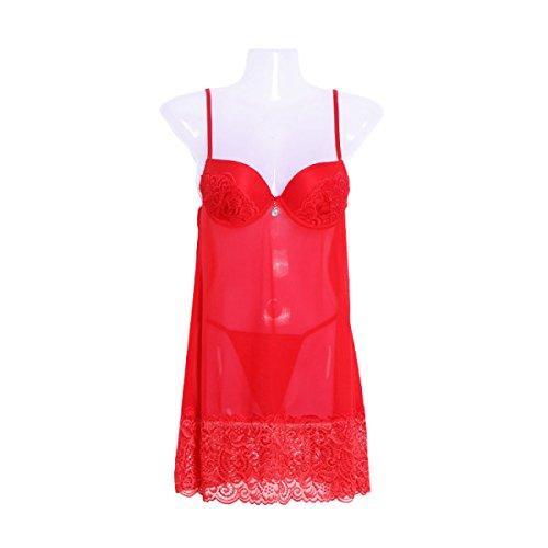 Pigiama Pigiami Sexy Camicia Da Notte Copripiumino Coppa Pizzo Lingerie Sexy Trasparente Vestito Tentazione Gonna Gonna Regali Di Natale Red
