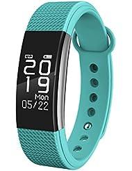 BHTSMART F1 Fitness-Tracker mit Herzfrequenz-Monitor, Schrittzähler, Schlaf-Monitor und Touch-Bildschirm, wasserdicht, Smart-Armband, für Andorid und iOS