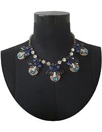 Triveni Collar de cristal azul y beige