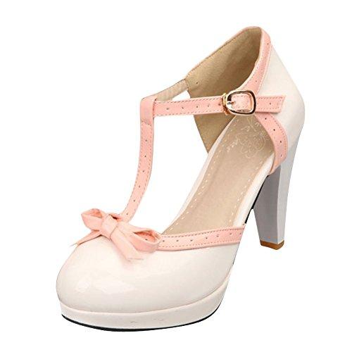 Agodor Damen Mary Jane Halbschuhe Pumps Ankle-Strap Plateau Sandalen mit T-Spange Schleife High-Heels Ankle Strap T-strap-pumps