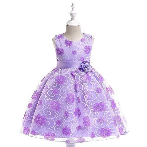 Bedeutet Mädchen Kostüm - Bademode Mädchen Schulterfrei Bowknot Prinzessin Kleid Spitze Mesh Mädchen Hochzeit Kostüm Performance Kleid Bikinis (Color : Purple, Size : 2-3Years)