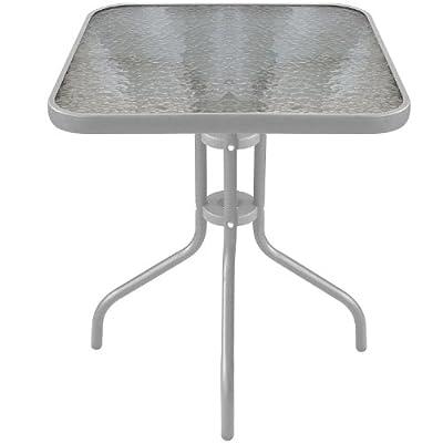 Bistrotisch Balkontisch Glastisch 60x60cm Beistelltisch Gartentisch mit Glasplatte - Silber