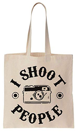 Finest Prints I Shoot People Circle Design Cotton Canvas Tote Bag
