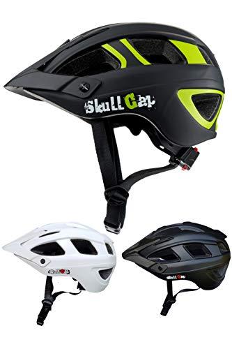 Skullcap Fahrradhelm MTB Helm Mountainbike Helm Herren & Damen Schwarz/Neon-Grün matt mit Visier/Helmschild, Größe M (55-58 cm)